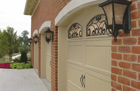 closeup of vintage style garage doors