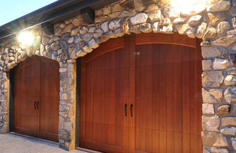 wood garage door closeup photo